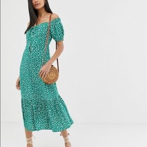 NWT ASOS Design Green Spotted Dress